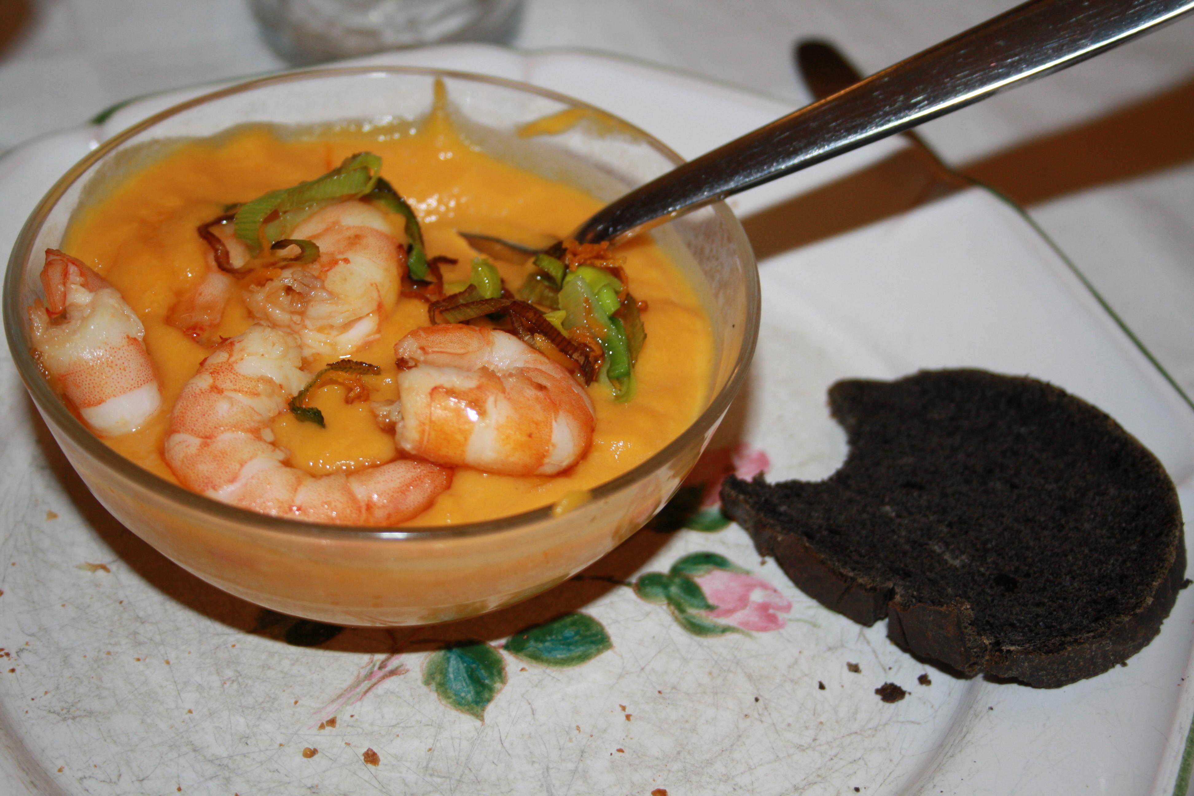 soupe courge butternut carottes poireaux et sa garniture de crevettes blog de cuisine de l. Black Bedroom Furniture Sets. Home Design Ideas