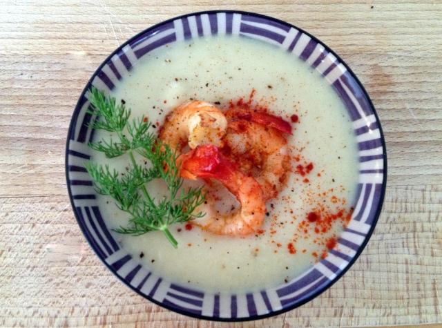 Soupe de choufleur aux crevettes et paprika douce