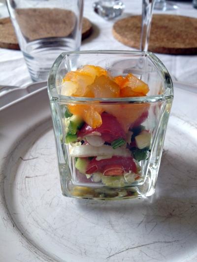 Verrine brunoise de petits légumes et haddock