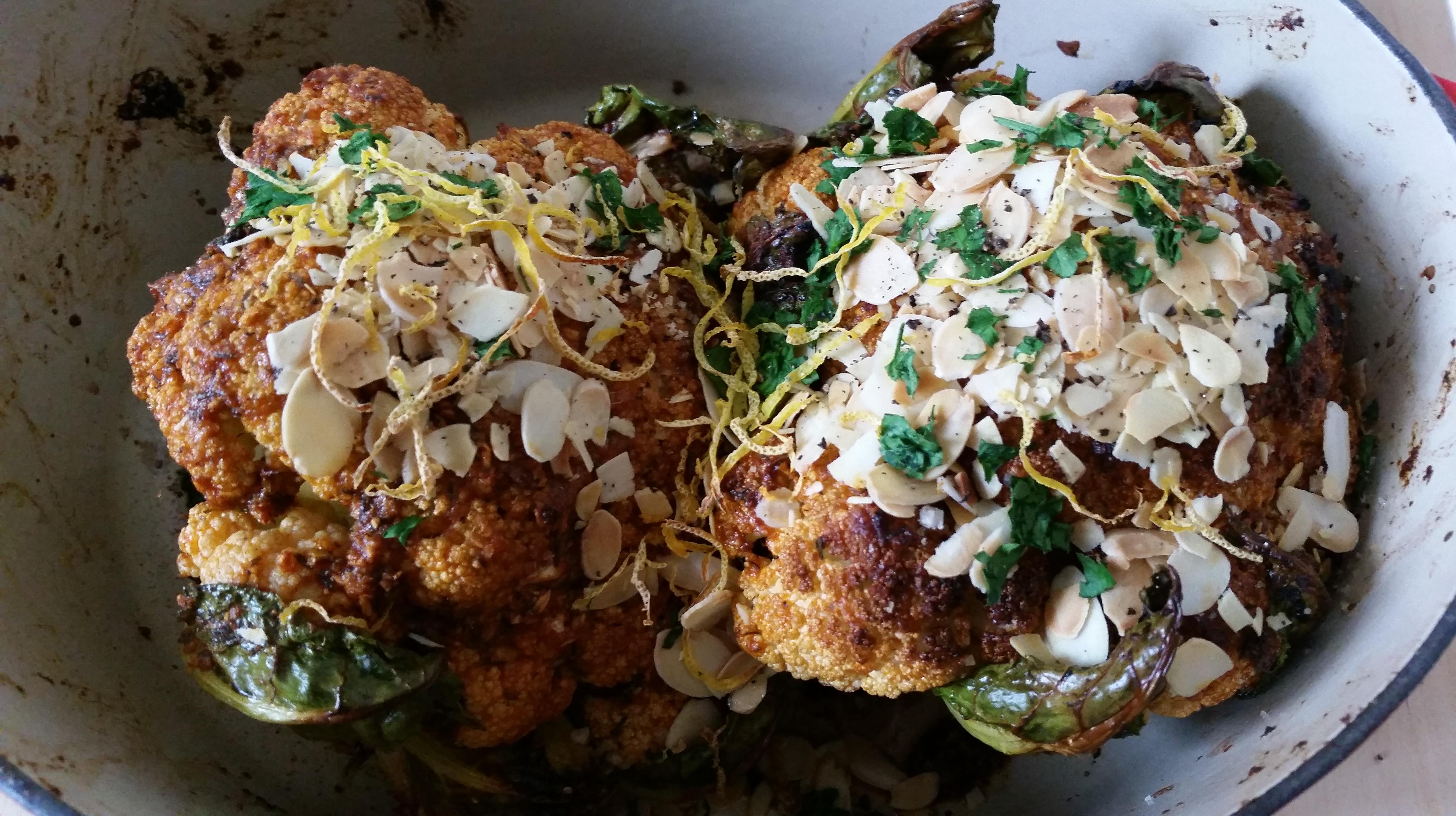 chou-fleur rôti au paprika fumé, ail et amandes de jamie oliver